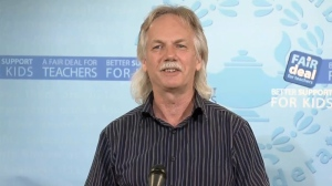B.C. Teachers' Federation president Jim Iker announces that a deal reached Tuesday with the provincial government has been ratified. Sept. 18, 2014. (CTV)