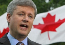 Conservative Party Leader Stephen Harper speaks outside Rideau Hall in Ottawa after asking Gov.-Gen. Michaelle Jean to dissolve Parliament, Sunday, Sept. 7, 2008. (Sean Kilpatrick / THE CANADIAN PRESS)