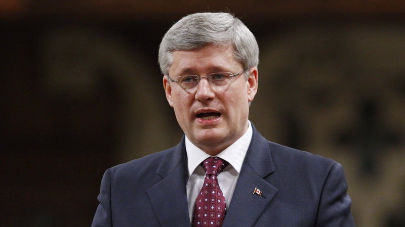 Prime Minister Stephen Harper rises in the House of Commons during Question Period in Ottawa, Thursday, Feb. 2, 2012. (Adrian Wyld / THE CANADIAN PRESS)