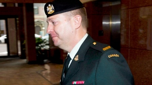 Darryl Watts arrives at a court martial appeal in Calgary on April 4, 2014. (Larry MacDougal / THE CANADIAN PRESS)