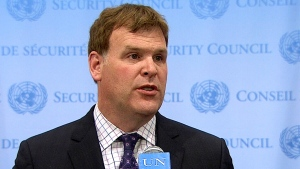 Foreign Affairs Minister John Baird speaks after a UN Security Council meeting on Iraq on Friday, Sept. 19, 2014.