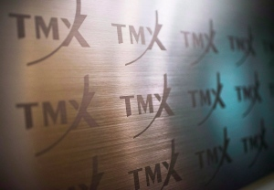 The TMX Group logo, home of the TSX, is shown in Toronto on June 28, 2013. (Aaron Vincent Elkaim / THE CANADIAN PRESS)