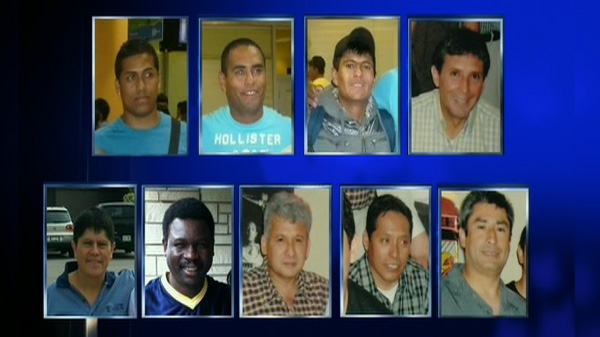 The nine migrant workers from Peru who died in a terrible crash are seen in this image.