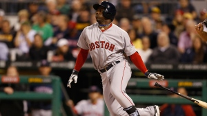 Cuban Rusney Castillo playing for the Boston Red Sox on Sept. 17, 2014. (AP / Keith Srakocic)