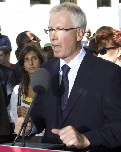 Liberal Leader Stephane Dion speaks outside Dawson College during a campaign stop in Montreal on Monday Sept. 8, 2008. (Adrian Wyld / THE CANADIAN PRESS)