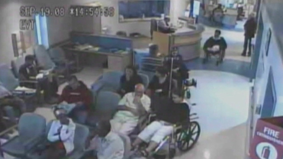 Brian Sinclair (top right in wheelchair) is shown in a screengrab from surveillance footage of his time at the Winnipeg Health Sciences Centre in September, 2008. (THE CANADIAN PRESS)