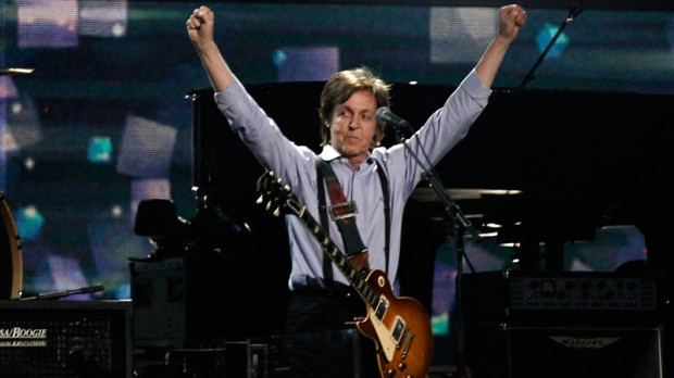 Paul McCartney performs during the 54th annual Grammy Awards on Sunday, Feb. 12, 2012 in Los Angeles. (AP / Matt Sayles)