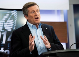 John Tory takes part in the first debate for the Toronto mayoral race in Toronto on Wednesday, March 26, 2014. (Nathan Denette / THE CANADIAN PRESS)