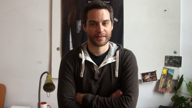 Patrick Doyon, whose animated short film titled Sunday/Dimanche, is nominated for an Oscar, poses for a photo in his studio Friday, Feb. 10, 2012 in Montreal. (Ryan Remiorz / THE CANADIAN PRESS)