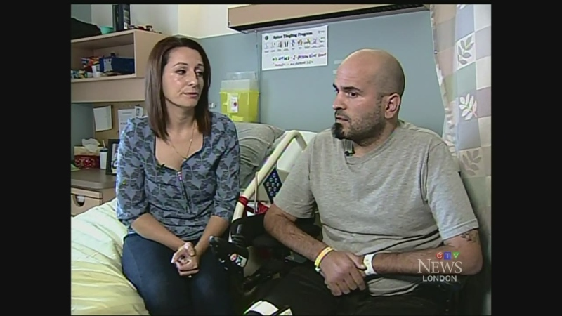 Jeff DeMelo, right, and his wife Tania, speak from his room at Parkwood Hospital in London, Ont. on Monday, Sept. 22, 2014. (Cristina Howorun / CTV London)