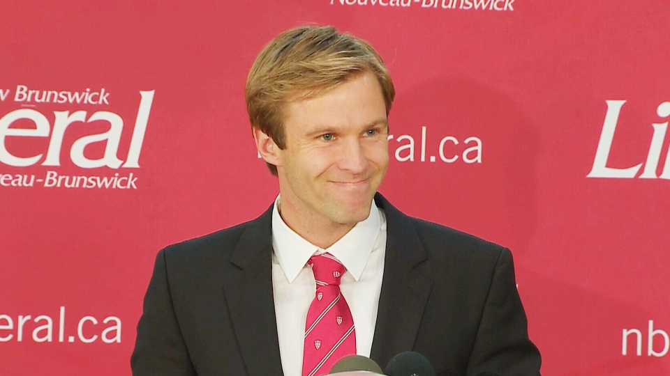 New Brunswick Premier Brian Gallant speaks to supporters after the Liberals won a majority government.