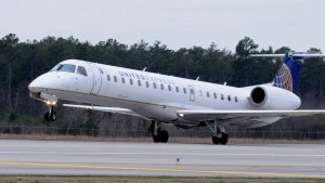 A United Express jet takes off from Houston's Bush Intercontinental Airport in Houston, Feb. 3, 2011. (AP / Pat Sullivan, File)
