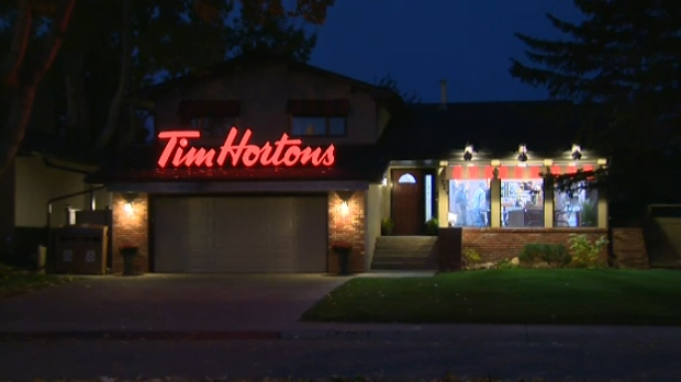 A Calgary home was turned into a fully functioning Tim Hortons restaurant, Sept. 23, 2014.