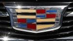 The Cadillac logo on a 2015 ATS coupe. (AP / Paul Sancya)