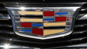 The Cadillac logo on a 2015 ATS coupe. (AP / Paul Sancya)