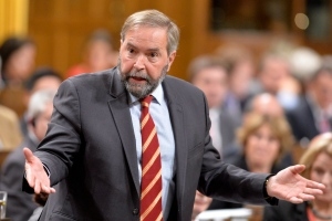 NDP Leader Tom Mulcair asks a question during Question Period in the House of Commons on Parliament Hill in Ottawa, Tuesday, Sept.23, 2014. (Adrian Wyld / THE CANADIAN PRESS)