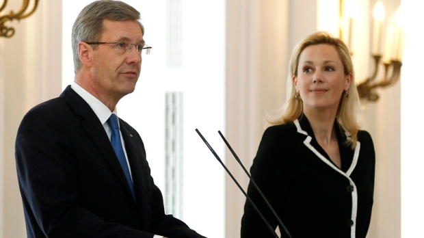 German President Christian Wulff, left, announces his resignation during a statement at the Bellevue Palace in Berlin, Germany, Friday, Feb. 17, 2012. (AP / Michael Sohn)