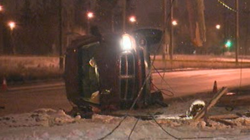 This car crashed into a hydro pole early Friday.