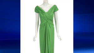 A gown designed by Catherine Walker for Princess Diana is pictured in this handout photo. (Photo from Julien's Auctions)