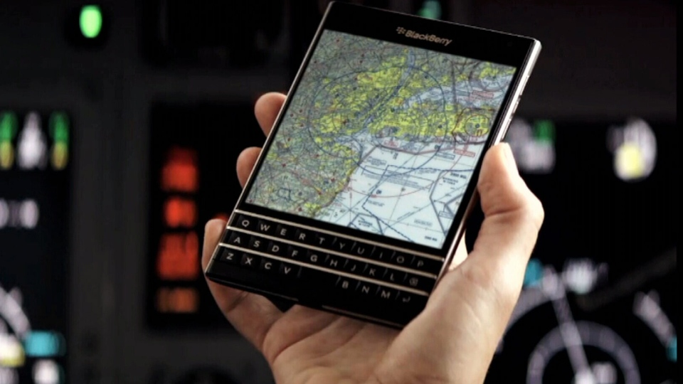 BlackBerry launches its new Passport phone in Toronto, Wednesday, Sept. 24, 2014.