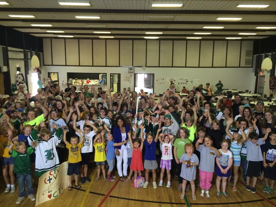 CTV Regina's Dan McIntosh and Sabeen Ahmad hang out with an energetic and enthusiastic group of elementary students Wednesday at Clive Draycott School in Bethune on Day 3 of the CTV Hometown Tour in Bethune.