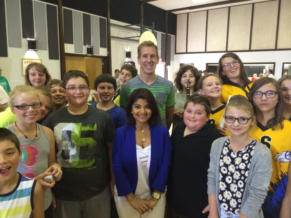 CTV Regina's Dan McIntosh and Sabeen Ahmad hang out with an energetic and enthusiastic group of students Wednesday at Clive Draycott School in Bethune on Day 3 of the CTV Hometown Tour.