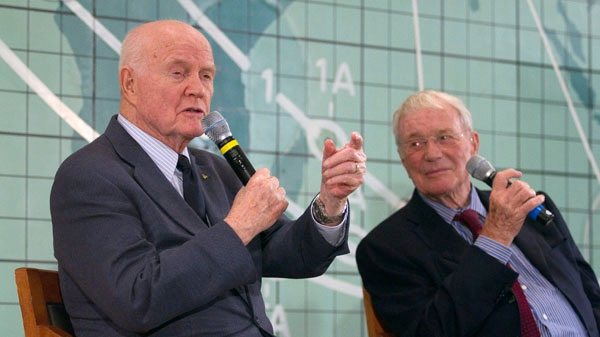 Former Sen. John Glenn, left, and Scott Carpenter, right, speak at the Kennedy Space Center in Cape Canaveral, Fla., Friday, Feb. 17, 2012. (AP / Michael Brown)