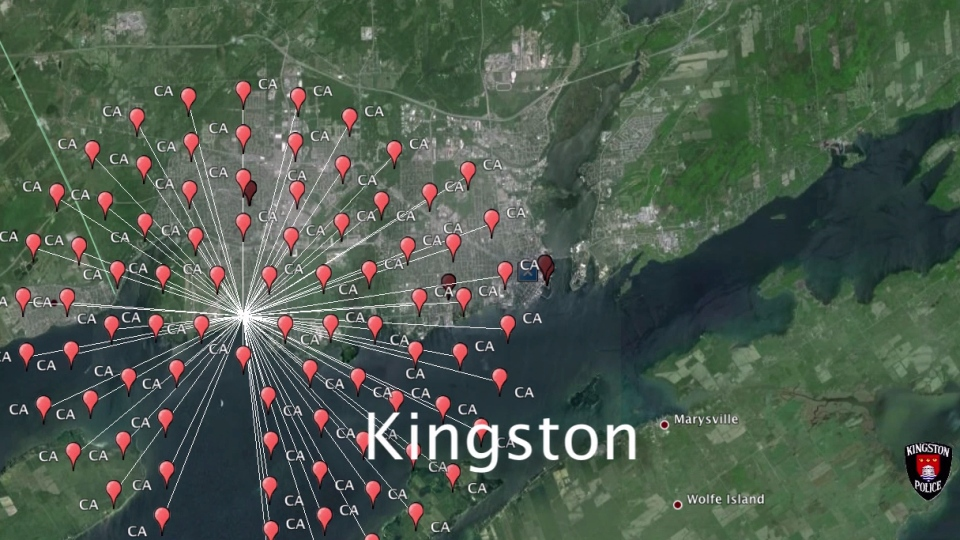 Ontario Provincial Police displayed an animated map showing more than 7,000 unique Internet Protocol (IP) addresses that were gathered over a 180-day period.