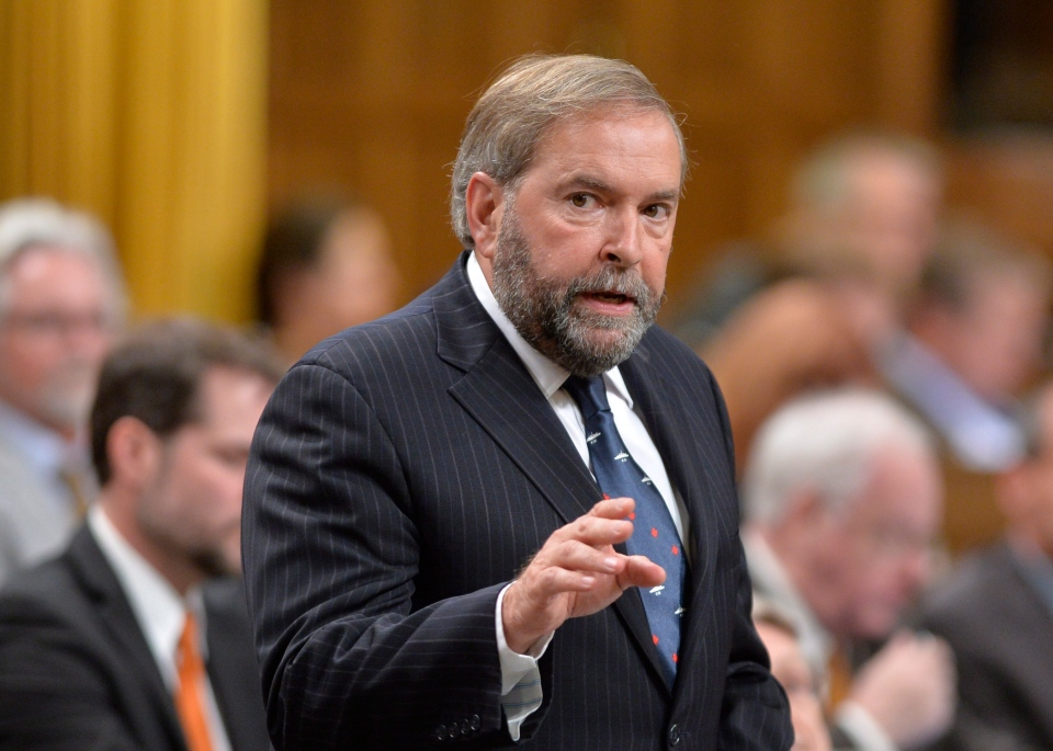 NDP Leader Tom Mulcair asks a question during Question Period in the House of Commons on Parliament Hill in Ottawa, Thursday, Sept.25, 2014. (Adrian Wyld / THE CANADIAN PRESS)