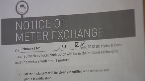 Lorraine Kirby, a Maple Ridge resident, is petitioning against BC Hydro's smart meter program. Feb. 19, 2012. (CTV)