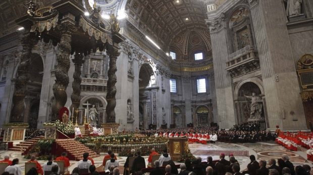 Pope Benedict XVI presides over a consistory in St. Peter's Basilica at the Vatican, Saturday, Feb. 18, 2012. (AP Photo/Andrew Medichini)