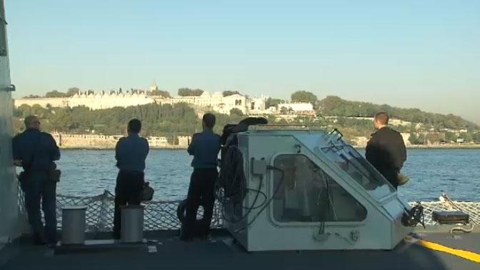 The crew of HMCS Toronto look out across Turkey's Bosphorus Strait on Thursday, Sept. 25, 2014.