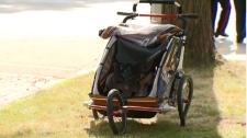 Stroller hit by car