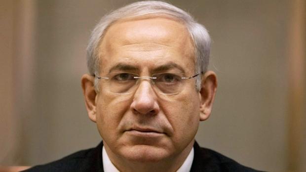 Israeli Prime Minister Benjamin Netanyahu attends the weekly Cabinet meeting in his office in Jerusalem, Sunday, Feb. 19, 2012. (AP / Sebastian Scheiner)