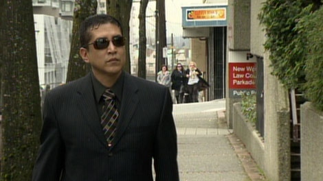 Cpl. Monty Robinson arrives at B.C. Supreme Court in New Westminster to face a charge of obstruction of justice. Feb. 20, 2012. (CTV)