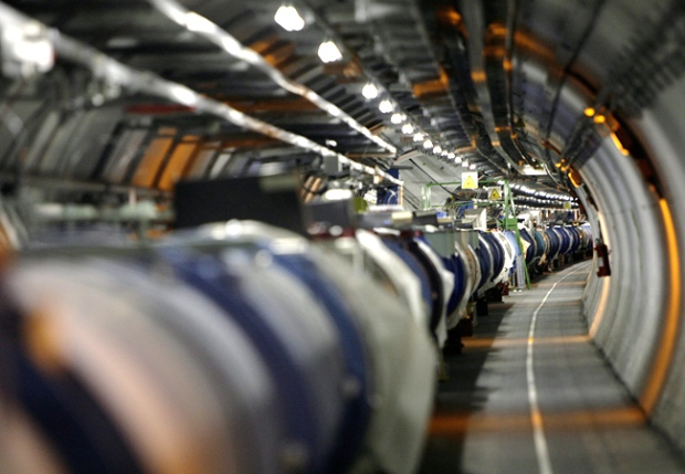 The LHC (large hadron collider) is seen in its tunnel at CERN (European particle physics laboratory) near Geneva, Switzerland.