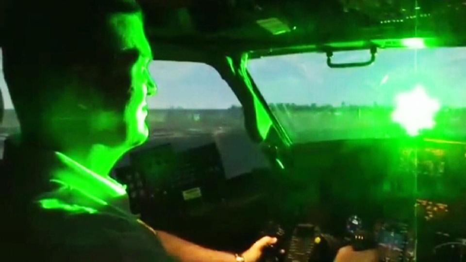There have been several other incidents involving lasers being beamed into commercial and military aircraft in the region in recent months.