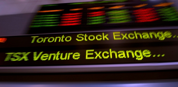 Toronto's main stock index down moderately on commodities