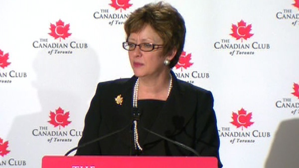 Human Resources Minister Diane Finlay addresses media in Toronto, Tuesday, Feb. 21, 2012.