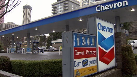 Gas prices hit $1.34 a litre in Vancouver on Feb. 21, 2012. (CTV)