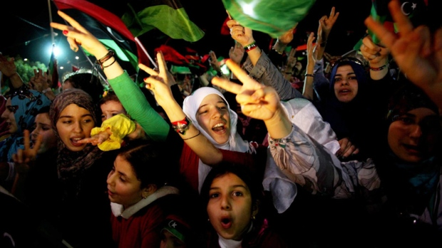 Girls and women attend a celebration of Libya's liberation in Freedom Square in Misrata, Libya, Oct. 23, 2011. (AP / Manu Brabo)