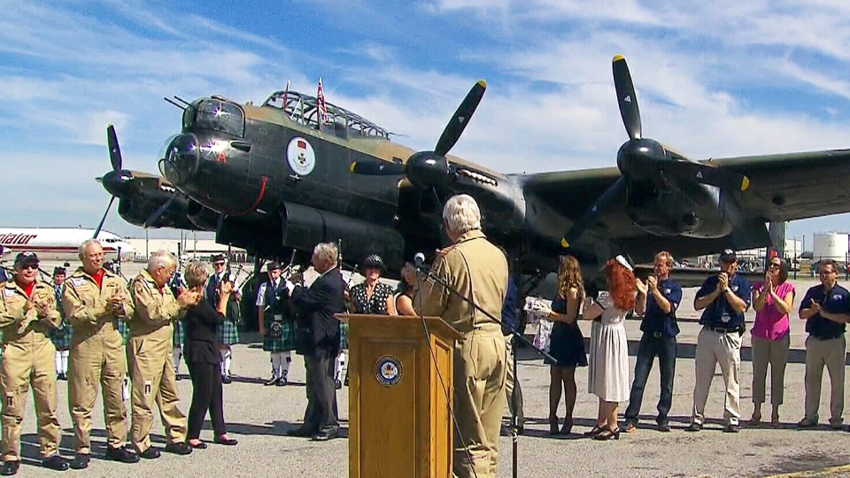 Canada's only operational WWII Lancaster bomber plane returned home after a historic aerial tour of the U.K.