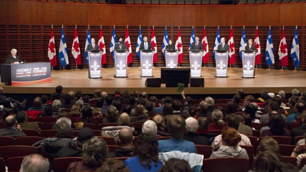 NDP federal leadership candidates (left to right) Brian Topp, Martin Singh,Thomas Mulcair, Niki Ashton, Paul Dewar, Nathan Cullen and Peggy Nash take part in an NDP leadership debate in Quebec City, Sunday, Feb. 12, 2012. (Clement Allard / THE CANADIAN PRESS)