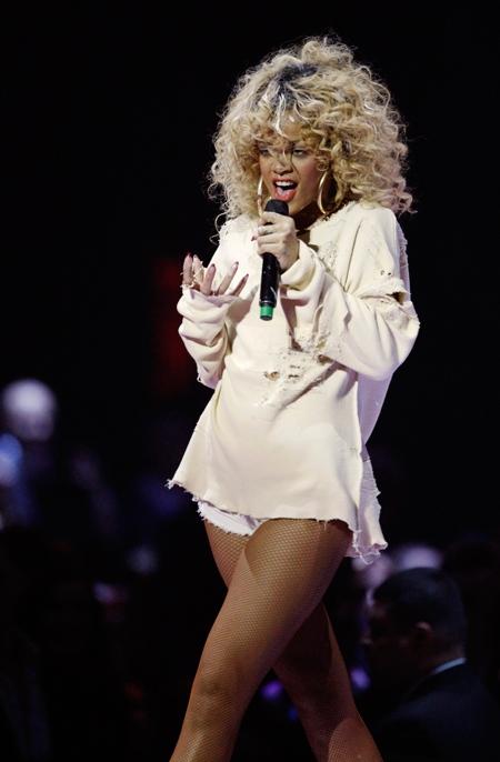 Rihanna performs during the Brit Awards 2012 at the O2 Arena in London, Tuesday, Feb. 21, 2012. (AP / Joel Ryan)