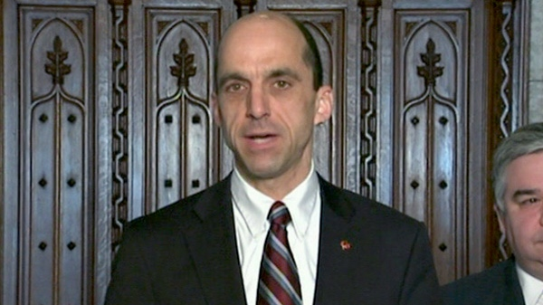 Minister of Veteran Affairs Steven Blaney speak to reporters in the Foyer of the House of Commons on Parliament Hill in Ottawa