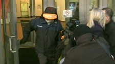 Graham James is seen exiting the courthouse in Winnipeg, Wednesday, Feb. 22. 2012.