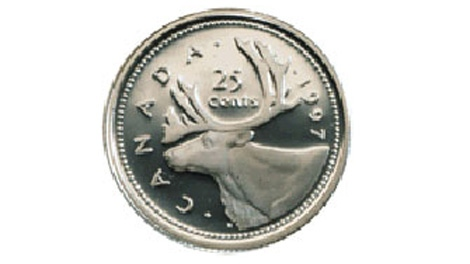 A Canadian quarter is seen in this undated image.