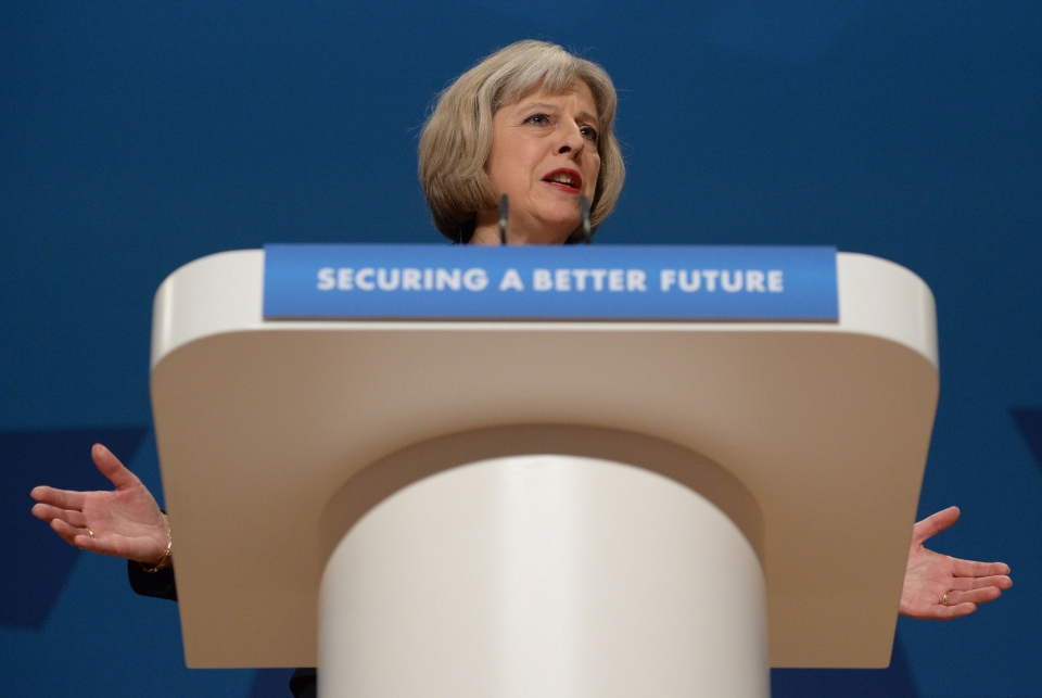 British Home Secretary Theresa May gives her speech to delegates at the Conservative Party annual conference in Birmingham, England, Tuesday, Sept. 30, 2014. (AP / Stefan Rosseau, PA Wire)