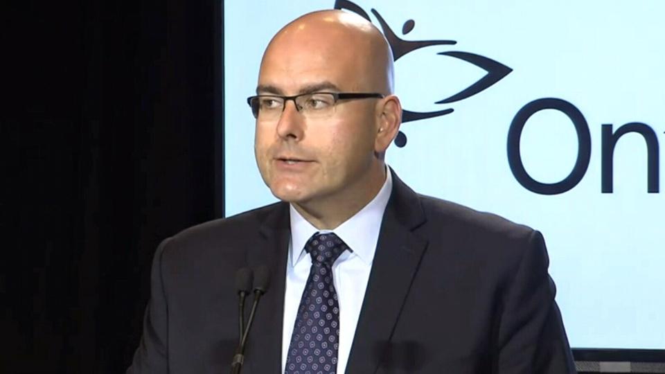 Transportation Minister Steven Del Duca speaks to the media in Toronto, Tuesday, Sept. 30, 2014.