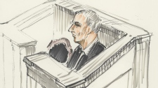 Graham James attends his sentencing hearing at court in Winnipeg, Wednesday, Feb. 22, 2012, in this artist's sketch. (Tom Andrich / THE CANADIAN PRESS)